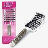 BARBER TOOLS Brosse à cheveux Araignée | 50% Poils en nylon pour masser le cuir chevelu et démêler les cheveux, 50% en poils de sanglier pour stimuler les huiles naturelles du cuir chevelu 25X8X4cm