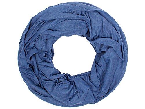 Sciarpa a tubo circolare in viscosa, foulard da donna leggero e morbido estate primavera autunno inverno loop anello ragazze colorati stola accessorio moderno lifestyle, SCH-920a-t:blu