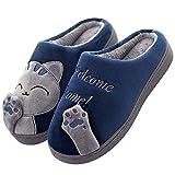 JIANKE Herren Damen Katze Hausschuhe Plüsch Winter Warme Kuschelige Pantoffeln Bequeme Weich Indoor Hausschuhe Blau 43 EU(Etikettengröße 44/45)