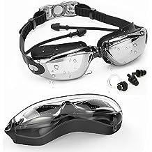 Goggles de natation avec bouchon d'oreille, lunettes de bain + étui + clapet de nez + bouchons d'oreille, pas de fuite Anti-brouillard protection UV sangle réglable noir, conçu pour adultes et jeunes …