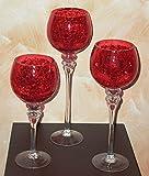 Unbekannt 3er Set Windlichter aus Glas, Glaskelch, cracking rot 54402