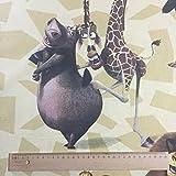 lizenziert von Dreamworks Animation LLC–Beige madagasacr Alex Print Premium Grade 100% Baumwolle feines Gewebe Kinder Vorhang Betten Stoff 142cm breit, Meterware,