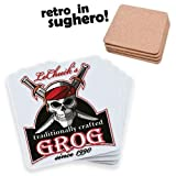 Set di 2 sottobicchieri con stampa LeChuck's Grog, traditionally crafted since 1990, Monkey Island videogame videogioco vintage retro inspired, pirati!