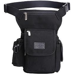 Eshow Bolso de Cintura, Bolso de Pierna de Tela de Lona para Hombre, Bolso de Ocio o para el Deporte al Aire Libre, Color Negro.