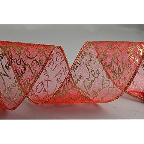 Rinforzato In Organza Con auguri di Natale Rosso/Oro 50MM X 1metro Lunghezza di taglio - Organza Circle