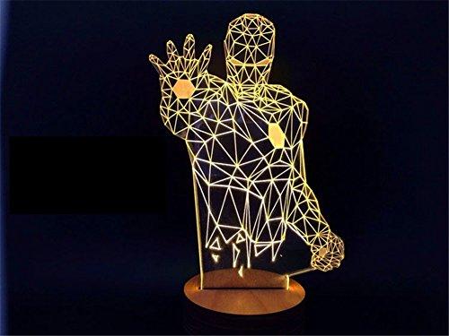 SmartEra® 3D Optical Illusion Iron Man USB Base in legno visualizzazione della lampada LED - Uscita Passa Alto