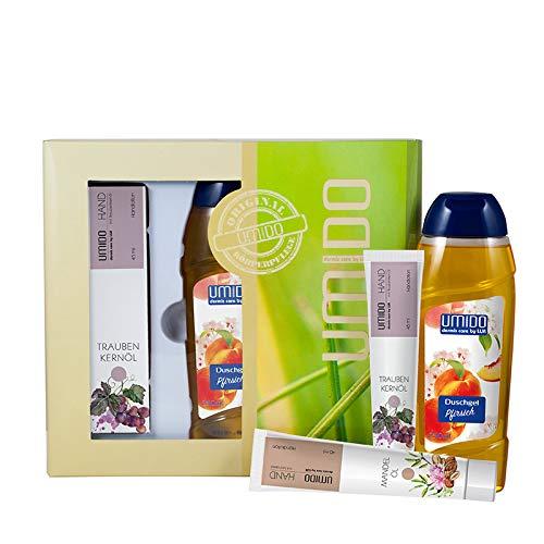 UMIDO Beautyset Hand-Lotion 45 ml Traubenkernöl, Duschgel 250 ml Pfirsich & Hand-Lotion 45 ml Mandelöl- 2 x 45 ml - 1 x 250 ml + Geschenk-Box (6.) -