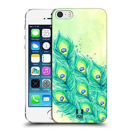 Head Case Designs Blue Green and Yellow Peacock Feathers Protective Snap-on Hard Back Case Cover for Apple iPhone 5 5s - Show Off Peacock