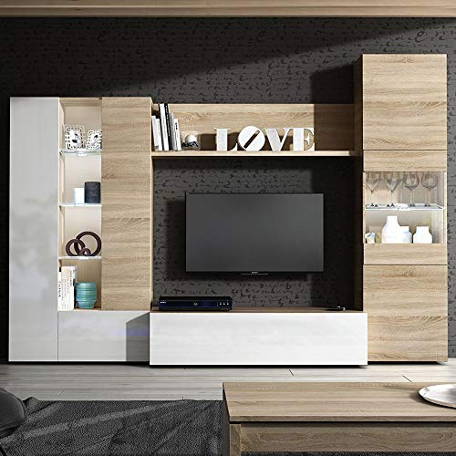 Habitdesign 016642F - Mueble de Comedor con Leds, Acabado en Blanco Brillo y Roble Canadian, Medida 260 cm de Ancho