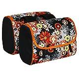 C-BAGS INDYGO double MEADOW Gepäckträger Tasche 2-er Set verschiedene Muster (black-orange)
