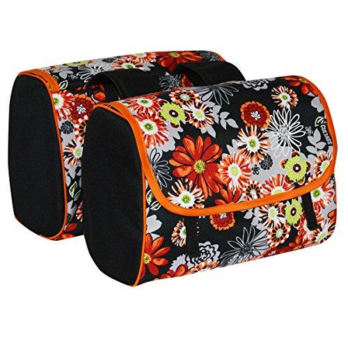 C-BAGS INDYGO double MEADOW Gepäckträger Tasche 2-er Set verschiedene Muster black-orange