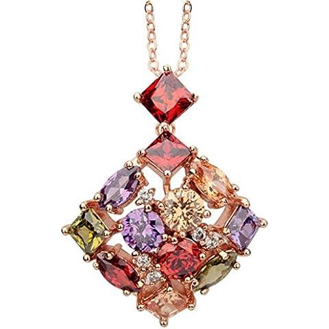 KnSam Donne Placcato in Oro Per la Collana Quadrata Bouquet Rolo Colorato Cristallo Zirconia Cubica [Novità