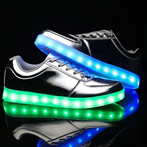 (Present:kleines Handtuch)JUNGLEST® Metallic 7 Farbe LED Leuchtend Sport Schuhe Glow Sneakers USB Aufladen Turnschuhe für Unise Silber