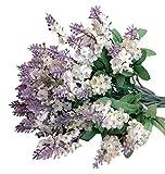 ZEZKT-Home Bouquet Künstlicher Lavendel Bouquet Kunstblumen Deko Hochzeit Lila Blumenstrauß Simulation Blumen für Haus Garten Blumengestecke Lavendel Künstliche Blumen (Weiß)