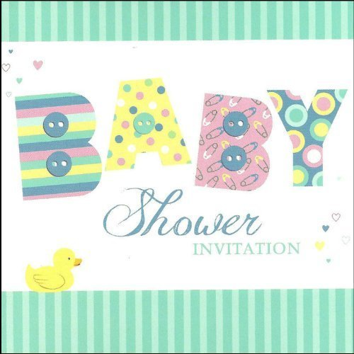 Simon Elvin Baby Shower Invitation Cards - Cute Rubber Duck Design - 6 Cards & Envelopes - DP291M by Creative
