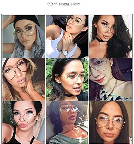Aprigy - Mode Pilot Brille Frauen Lesebrille Herren-Sonnenbrillen Objektiv Jahrgang Metall Vollrand Transparente Gläser [EIN]