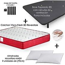 MICAMAMELLAMA Colchón Viscoelástico VISCO Confort Fresh 3D Reversible + Base Tapizada con Patas 26cm + 2