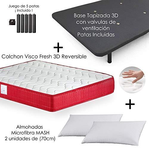 MICAMAMELLAMA Colchón Viscoelástico VISCO Confort Fresh 3D Reversible + Base Tapizada con...