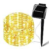 Solar Lichterkette 200er LEDSolar String Lichter 20M Solar Lichterketten Kupferdraht 8 Modi Beleuchtung Wasserdicht IP65 für Garten, Terrase, Balkon - Warmweiß