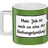 """Sheepworld 44061 Tasse Wortheld """"Mein Job ist auch so eine Art Dschungelprüfung!"""" Porzellan, grün"""