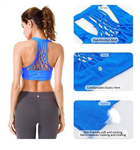 Queenie Ke Femme Soutien-Gorge de Sport Yoga Bandeau Paddé Bleu