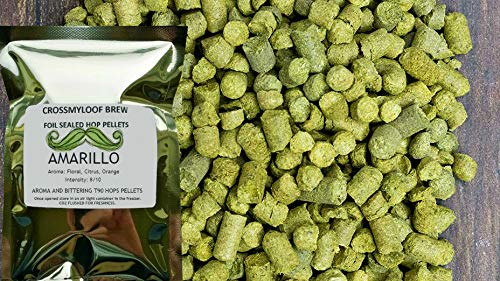 450g of Amarillo Hop Pellets. 7-11% AA. 2018. Cold Stored. Foil CO2 Flushed, or Poly Vacuum packed for Freshness