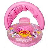 CHRRI Aufblasbarer Lenkrad-Schwimmring-Baby-Aufblasbarer Schwimmen-Floss-Sitz und Baby-Justierbarer Regenschirm,Pink
