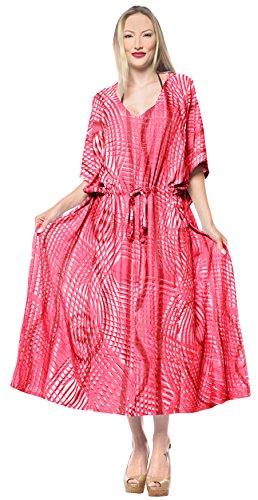 überdimensional Maxi Tie Dye Kimono Kaftan Tunika Kaftan Damen Top Freie Größe Loungewear Urlaub Nachtwäsche Strand jeden Tag Kleider Rot_F673 ()
