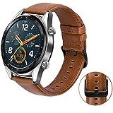 MroTech Cinturino per Huawei Watch GT/GT Active/GT Elegant Smartwatch -22mm Cinturini di Ricambio in Pelle compatibile per Samsung Gear S3 / Galaxy Watch 46mm Banda Marrone con Fibbia di Metallo nero