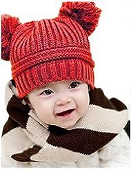 Tongshi Bebé lindo de la muchacha del muchacho para niños de doble bolas caliente del invierno hizo punto el casquillo del sombrero de la gorrita tejida(rojo)