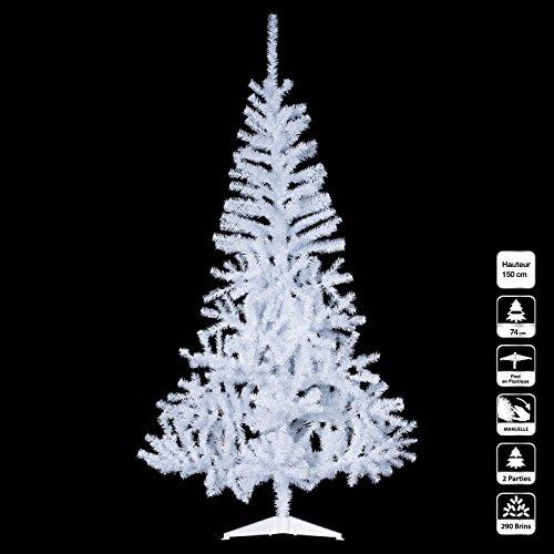 Albero di natale bianco artificiale, 150cm, 290 fili.