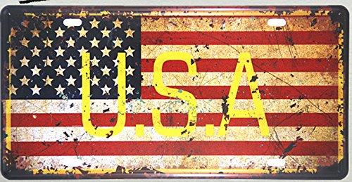 DL-USA-Karte Nummernschild VINTAGE RETRO METALL WAND SCHILD PLAKETTE BILD AUTO GARAGE