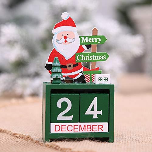 Gaddrt Weihnachten während Weihnachten Mini Holz Kalender Xmas Ornament Dekoration Handwerk Geschenk (Grün) (Flip-chart Tabs)