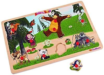 Mascha und der Bär Steckpuzzle 11-teilig - 30x20cm - Puzzle mit 10 Steckteilen