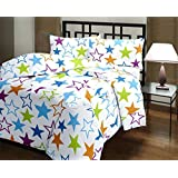 Jaipuri Haat,polyester Brilliant Reversible Poly Cotton Star Print AC Blanket/Dohar/AC Comforter, Single Bed, (JH-SD-FLC-STAR, Star White)