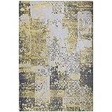 Green Decore Harmony - Alfombra, chenilla de algodón, 120 x 170 cm, color amarillo y gris