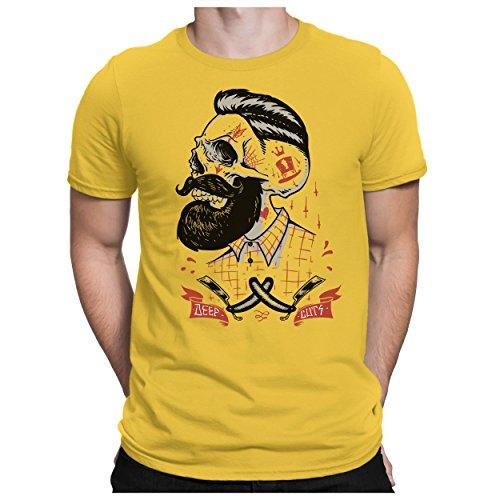PAPAYANA - DEEP-CUTS - Herren T-Shirt - HIPSTER SKULL FACE BEART BARBER DOPE Gelb