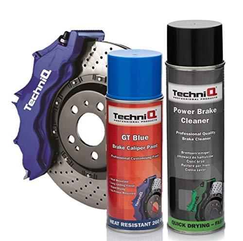 Techniq gt - vernice spray blu per pinza freni, 400 ml, con detergente power brake cleaner 500 ml