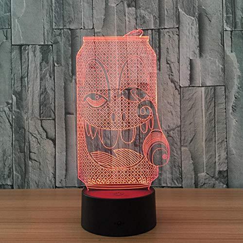 Zhoudd 3D Luz Noche LED Luces De Ilusión 7 colores