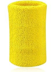 Kry algodón absorbente deportes muñequeras mano muñeca Sweatband Para Baloncesto Bádminton y tenis, color amarillo, tamaño 8 * 10 cm / 3.15 * 3.94 inch