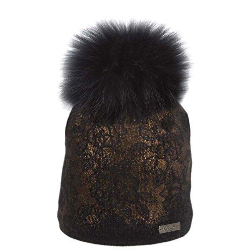 Norton Damen Strick Mütze Beanie mit Echtfell Bommel schwarz Farbe schwarz, Größe...