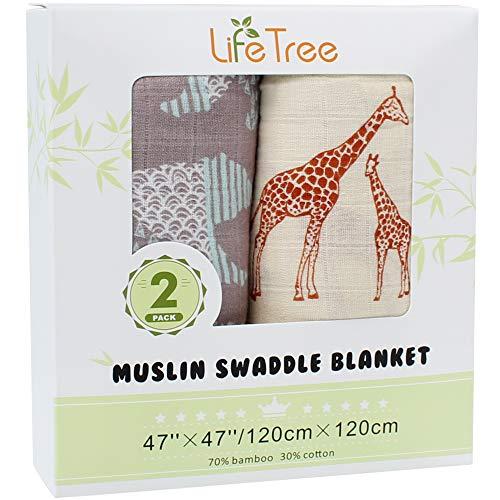 LifeTree Baby Musselin Decke Bambus Baumwolle für Jungen und Mädchen - 2 Stück Giraffe & Bär Design Pucktücher Kuscheldecke Baby Sommer Baumwolldecke 120x120cm -