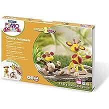 Niños staedtler Fimo crear y reproducir animales mono loco / jirafa Conjunto de 4 Pte pan 42 g de arcilla