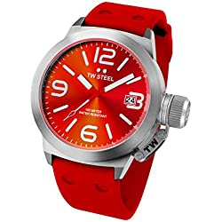 TW Steel Canteen Fashion Unisex Quartz Watch with Red Dial Analogue Display and Red Silicone Strap TW510