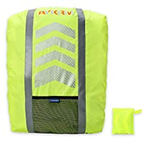 AYKRM Reflective High Hi Viz Rucksack Backpack Cover Cycling Running Waterproof Bag (Yellow, 20-40L)