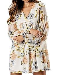 Frauen Blumendruck V-Ausschnitt Langarm Damen Schwimmer Kleid