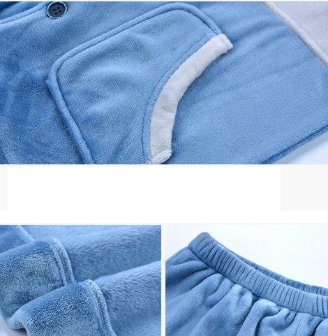 OHmais Unisexe Femme Homme 2 pièces traditionnels Ensemble pyjama avec Pantalon Costume combinaison pyjamas vêtement hiver Bleu
