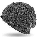 Compagno caldo berretto foderato berretto invernale beanie design in maglia grezza, Colore:Grigio