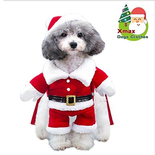 Costume da babbo natale cane cappotto per cani giacca invernale per cani caldo natale con cappuccio maglione per cane in misto cotone. regalo natalizio