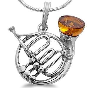 Bernstein Blass Horn Jagdhorn Waldhorn Musik Blasinstrument Damen Herren Anhänger 925 Silber Schmuck Kettenanhänger #1653